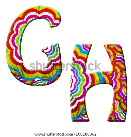 G, H, Colorful wave font isolated on white.