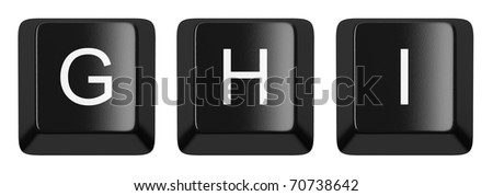 G, H, I black computer keys alphabet isolated on white
