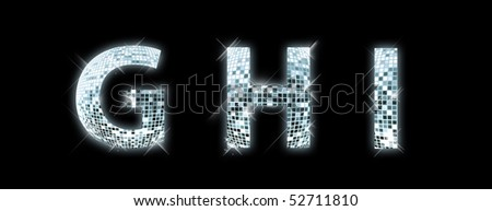 G,H,I - font made from a disco ball
