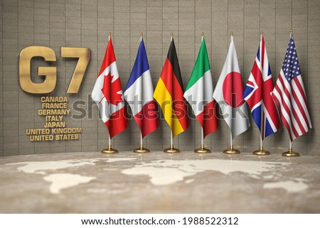 G7 summit or meeting concept. Row from flags of members of G7 group of seven and list of countries, 3d illustration ストックフォト ©
