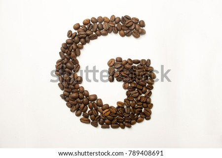 G the letter. alphabet of coffee. coffee beans. concept of healthy eating. photo for your design. horizontal orientation of the sheet #789408691