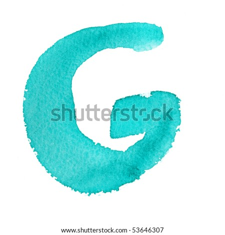 G - Watercolor letters isolated over the white background