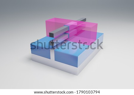 GAAFET (GAA FET, nano wire, nanowire) transistor 3D render model. This transistor used for semiconductor chips and integrated circuits at nano scale. Pink - Gate, blue - Insulator, silver - Sub Stok fotoğraf ©
