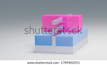 GAAFET (GAA FET, nano wire, nanowire) transistor 3D render model. This transistor used for recent semiconductor chips at nano scale. Pink - Gate, blue - Insulator, silver - Substrate. Stok fotoğraf ©