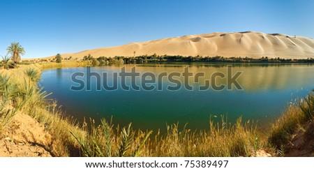 Gaberoun Lake - Idyllic oasis in the Awbari Sand Sea, Sahara Desert, Libya