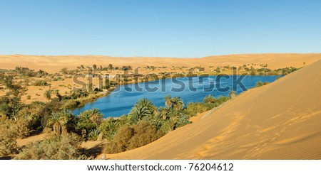 Gaberoun Lake - Idyllic oasis in the Awbari Sand Sea, Sahara Desert, Libya