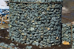 gabions fences made of mesh and stones