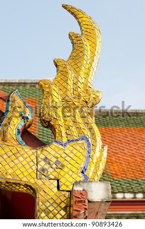 Gable apex in temple roof with, Golden Mount and Wat Saket ,Thailand,