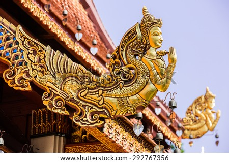 Gable End of Temple Roof, the saluting angle out of mouth of Naga, Wat Phra Sing - Chiang Rai, Thailand