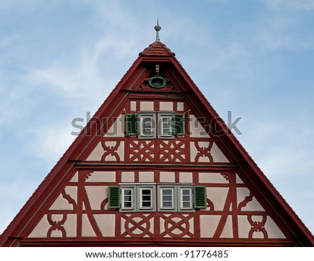 Gable roof of traditional German half-timbered house in medieval section of Rothenburg ob der Tauber, Bavaria, Germany, along the Romantic Road