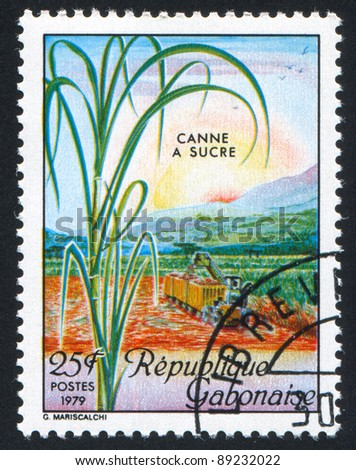 GABON CIRCA 1979: A stamp printed by Gabon, shows Sugar Cane Harvest, circa 1979