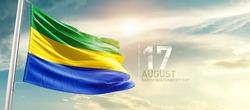 Gabon national flag waving in beautiful sunlight.