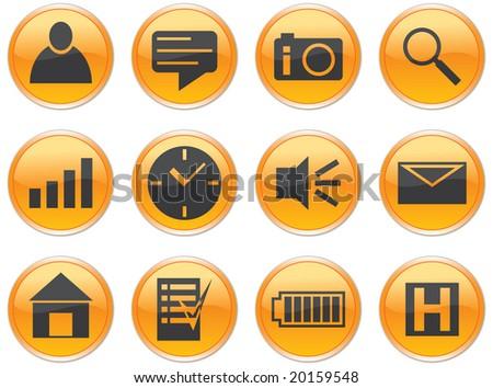 Gadget icons set. Orange - gray palette. Raster illustration.
