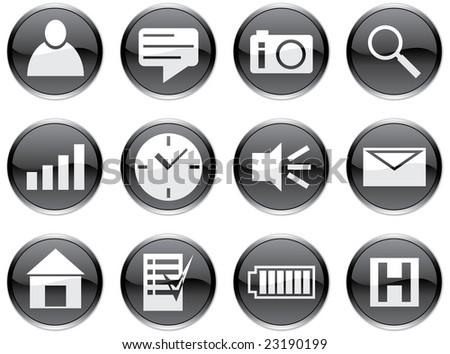 Gadget icons set. White - black palette. Raster illustration.