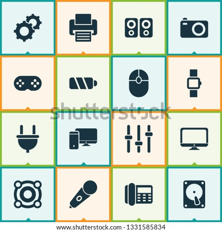 Gadget icons set with camera, loudspeaker, battery and other equalizer elements. Isolated  illustration gadget icons. #1331585834