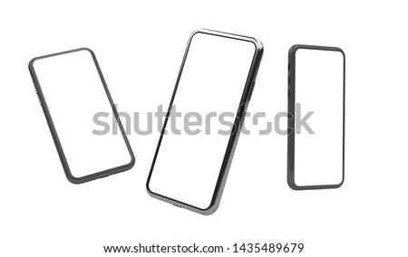 Gadget mockup with isolated screen. 3d render smartphone . Trendy presentation mockup styles.