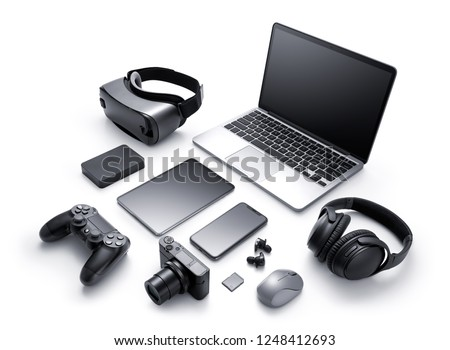 Gadgets and accessories isolated on white background Stock photo ©