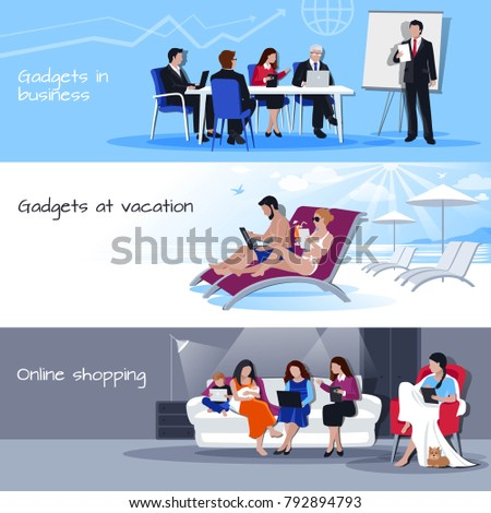 Gadgets in business office during vacation and for shopping online 3 flat banners set isolated  illustration