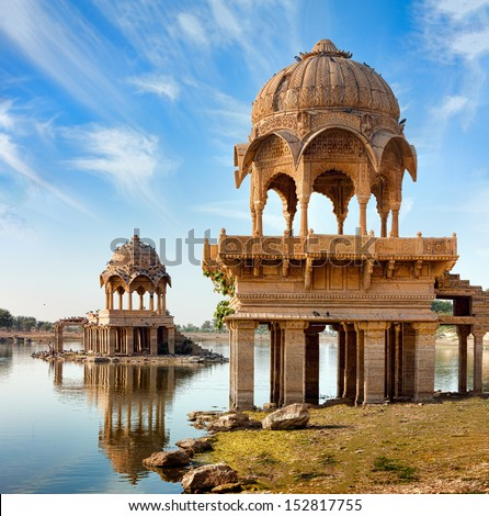 Gadi Sagar (Gadisar) Lake is one of the most important tourist attractions in Jaisalmer, Rajasthan, North India.    Artistically carved temples and shrines around The Lake Gadisar Jaisalmer. #152817755