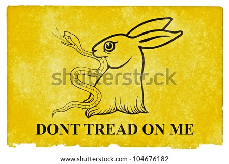Gadsden Flag Parody on grunge textured vintage paper. Designed especially for comic relief where the fierce snake associated with the original Gadsden Flag ends up in the mouth of a cute bunny