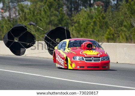 GAINESVILLE, FL - MAR 12: NASCAR Cup champion Kurt Busch advances to the elimination round in his professional drag-racing debut at the Gainesville Raceway in Gainesville, FL on Mar 12, 2011.