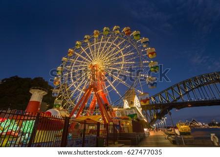 Gaint ferris night time at Lunar park, Sydney NSW, Australia.