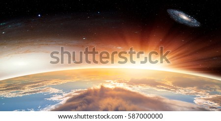 """Galactic Sunset against Milkyway and Andromeda galaxy (Instead of the Milky Way galaxy, Grand spiral galaxy Messier 81 (heic0710 ) is fictionalized) """"Elements of this image furnished by NASA """""""