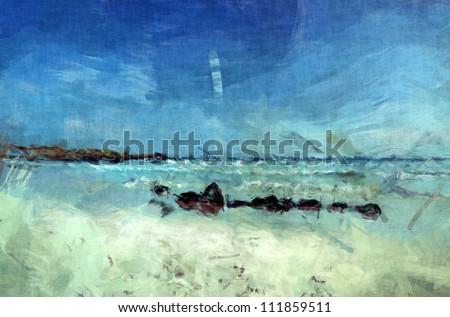 Galapagos beach painting - stock photo