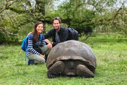 Galapagos Giant Tortoise and tourist couple posing for photo on Santa Cruz Island in Galapagos Islands. Animals, nature and wildlife tortoise in the highlands, Galapagos, Ecuador, South America.