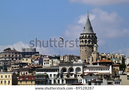 Galata district wirh its tower in Istanbul, Turkey