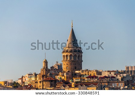 Galata Tower and Karakoy quarter of Istanbul, Turkey with space for text.