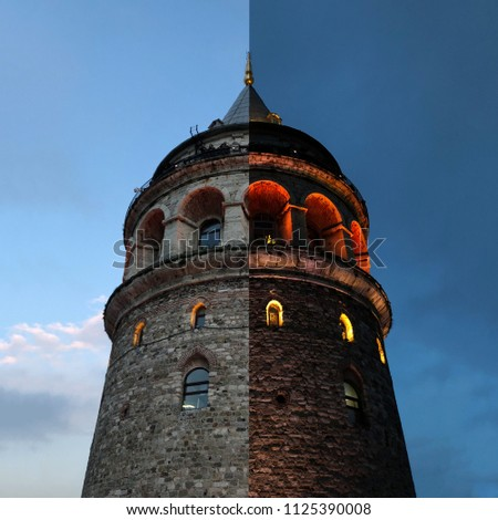 Galata tower day and night istanbul - Shutterstock ID 1125390008