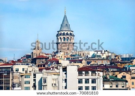 Galata tower in beyoglu, Istanbul, Turkey.