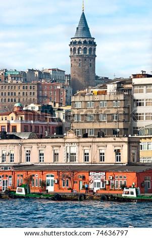 Galata tower in beyoglu, Istanbul, Turkey. Focus is on the tower - stock photo