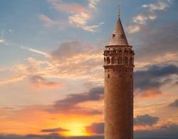 Galata tower with amazing sunset -  Istanbul Turkey