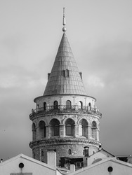 Galata Towers view top in black and white
