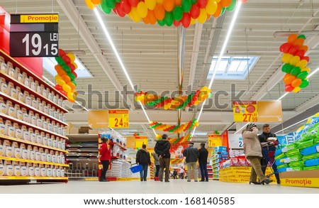 GALATI, ROMANIA - NOVEMBER 21: Photos at Hypermarket Carrefour grand opening in Galati, Romania on November 21, 2013.