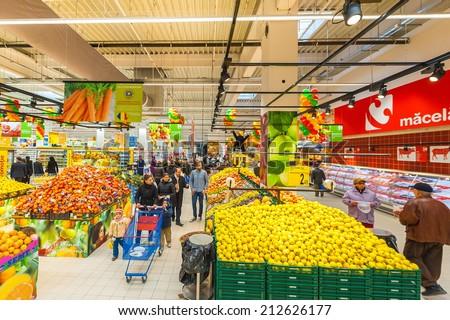 GALATI, ROMANIA - NOVEMBER 21: Photos at Hypermarket Carrefour grand opening in Galati, Romania on November 21, 2013
