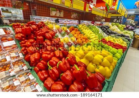 GALATI, ROMANIA - NOVEMBER 21: Photos at Hypermarket Carrefour grand oppening in Galati, Romania on November 21, 2013.