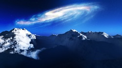 Galaxy rising above a frozen cold landscape with dark blue sky background