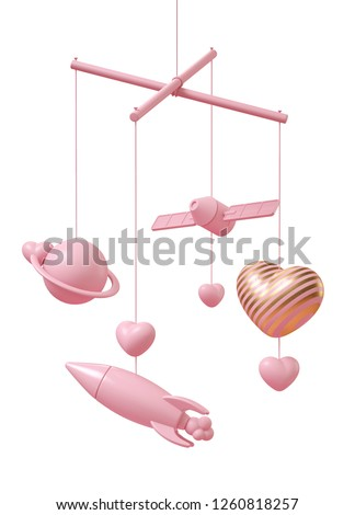 Galaxy theme crib mobile in pink on white background. Which included pink satellite, rocket, Saturn and pink heart with gold stripe. Expression of love in the universe. 3d illustration rendering.