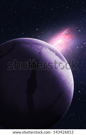"Galaxy turns towards planet. ""Elements of this image furnished by NASA"""