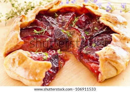 Galette with plums and fresh thyme