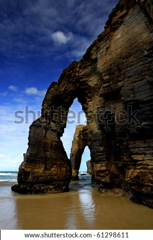 Galicia, Spain, Las Catedrales natural landmark at the coast