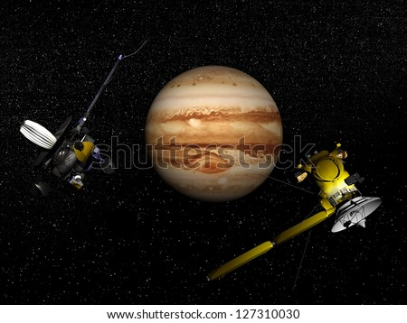 Galileo and Cassini spacecrafts next to Jupiter in the universe - Elements of this image furnished by NASA