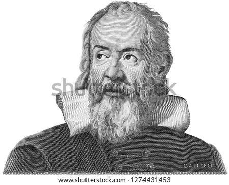 Galileo Galilei etching on Italy money. Genius scientist, philosopher, astronomer, mathematician, father of physics and astronomy, inventor of telescope.