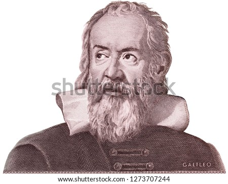 Galileo Galilei on Italy money isolated. Genius inventor, philosopher, astronomer, mathematician. Famous scientist in physics and astronomy, discoverer of telescope.