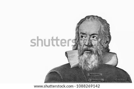 Galileo Galilei Portrait from  Italy 2000 lira 1983 Banknotes. An Old paper banknote, vintage retro. Famous ancient Banknotes. Collection.