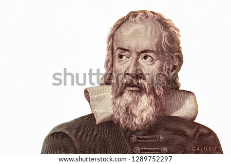 Galileo Galilei portrait on Italy banknote, Genius inventor, philosopher, astronomer, mathematician. Famous scientist in physics and astronomy, discoverer of telescope. Closeup Collection
