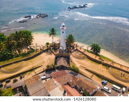 Galle Dutch Fort. Galle Fort, Sri Lanka, as seen from the air. Galle Fort in Bay of Galle on southwest coast of Sri Lanka. Aerial view Foto stock ©